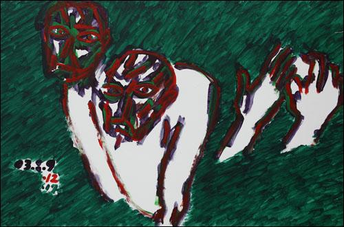 '두 사람(Two People)' 종이에 아크릴물감 98×163cm 2003