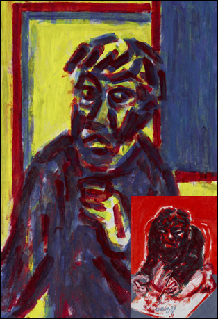 '그림 그리는 남자 1,3(The Painter 1,3)' 한지에 아크릴물감 96×62.5cm 2010. 20세기 인물화의 전형인 베이컨이나 루시안 프로이트와 다른 그만의 자화상을 보여준다