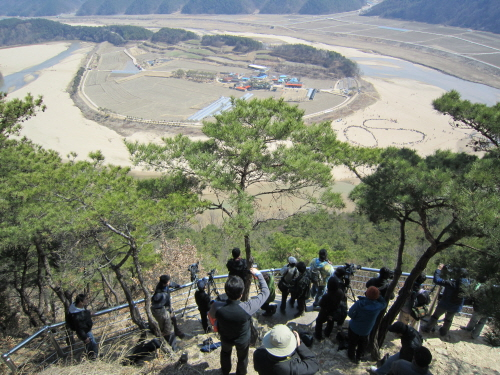 회룡포의 모습을 담는 기자들.