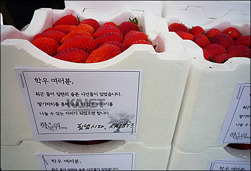 '힘냅시다, KAIST!' 2011년 4월 11일 카이스트 학생식당 카이마루 앞에서 학생복지위원회 주최로 '딸기파티'가 열렸다.