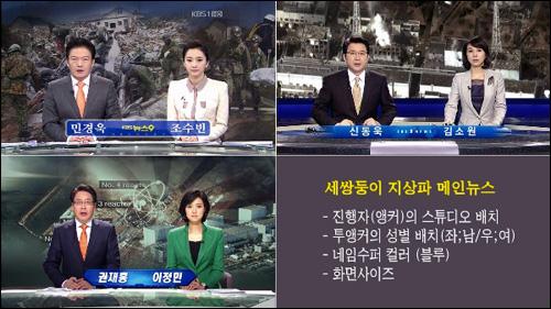 전혀 차별화를 볼 수 없는 지상파 3사의 똑같은 메인뉴스 화면구성. 남녀 뉴스캐스터의 위치, 화면컬러까지 동일하다.