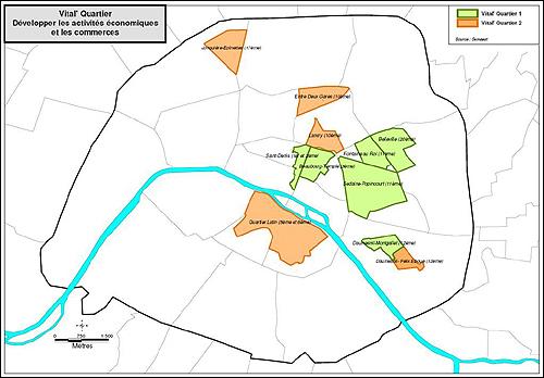 Semaest의 '동네 살리기 작전' 지도. 초록색으로 표시된 곳이 2004년에 시작된 1차 작전 지역, 오렌지색으로 표시된 곳이 2008년에 시작된 2차 작전 지역이다.
