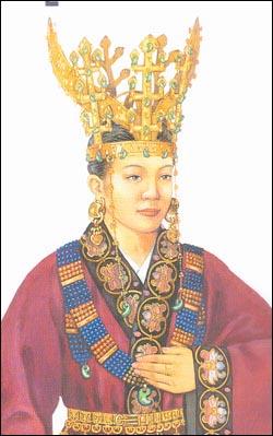 신라 여인의 모습. 사진은 7세기 중반 이전 귀족 여인의 모습. 출처: <한국생활사박물관 5권>.