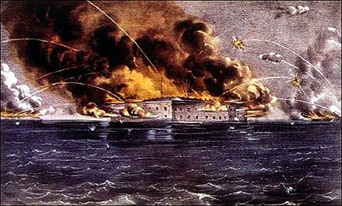 남북전쟁의 시발점이 된 포트 섬터 포격 장면을 그린 그림.