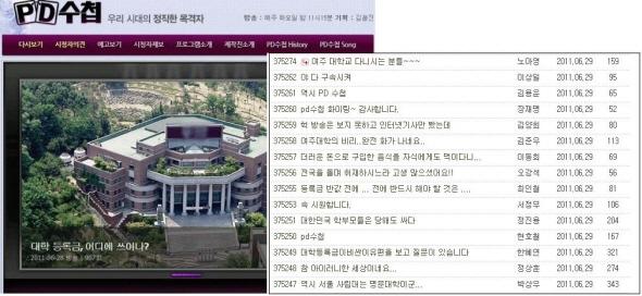 여주대학의 비리를 고발한 MBC 피디수첩의 방송장면과 시청자 게시판 글. 학생등록금은 천만원에 이르는데 학교 이사장과 관계자들은 그 돈으로 유흥업소, 면세점 쇼핑 등으로 사용하여 충격을 주고 있다.