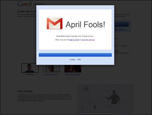 구글이 발표한 '지메일 모션'은 만우절 장난이었다.