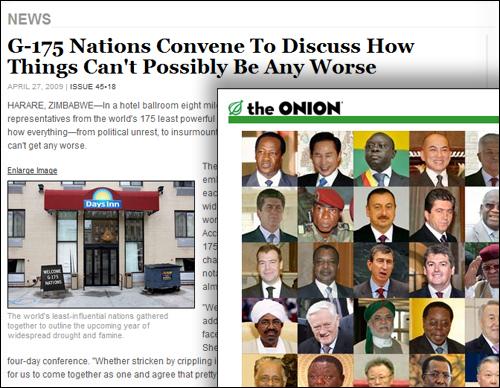 미국 풍자신문 <어니언>에 실린 세계에서 가장 영향력 없는 지도자들의 모임 G-175. 정치인들에 대한 신랄한 풍자는 미국 사회에 보편화되어 있다.