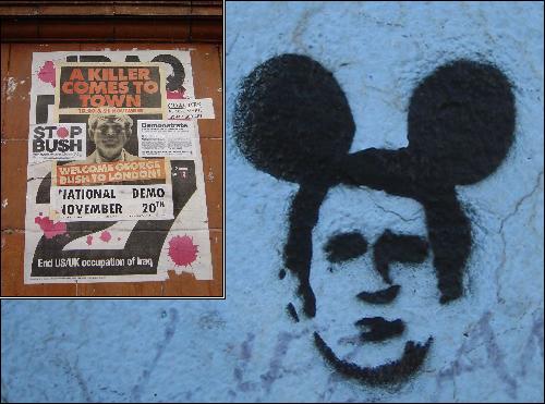 부시 대통령 역시 재임 당시 자주 '쥐'로 묘사되었다. 왼쪽 사진은 부시의 영국 방문에 항의하기 위해 런던시민들이 곳곳에 붙인 '살인마 마중 나가기' 포스터. 오른쪽은 미국인들이 벽에 그린 '부시 마우스' 그래피티.