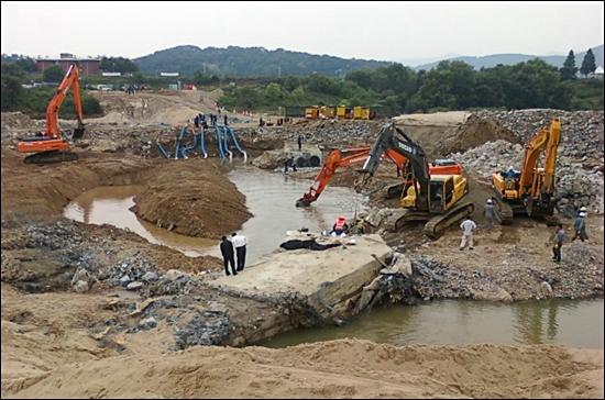 지난 30일 2차 구미 단수 사태를 일으킨 파손된 송수관.