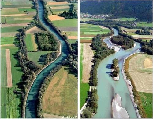 운하를 헐어 은빛 모래 반짝이는 자연의 강으로 되돌린 스위스 투어강 스위스 투어강은 100년 전에 만든 운하를 헐어 은빛 모래가 반짝이는 자연의 강으로 다시 되돌렸습니다. 이명박 대통령이 4대강을 파괴하였지만, 4대강이 다시 살아날 수 있음을 보여주는 증거이지요.