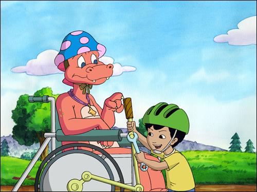 미국 어린이들은 태어나면서 장애인과 더불어 사는 법을 배운다. 사진은 공영방송(PBS) 만화영화 <드래곤 테일>의 한 장면.
