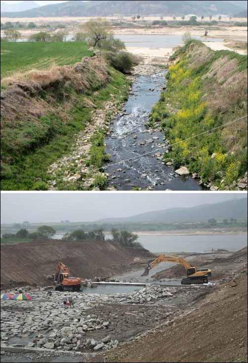 4대강 사업 이전엔 이토록 작은 하천에 불과했는데... 낙동강으로 들어가는 용호천입니다. 4대강 사업 이전엔 그저 보잘것 없는 실개천에 불과하였습니다. 그러나 4대강 사업으로 낙동강을 깊이 준설하자 실개천이 국민 혈세를 퍼부어야만 하는 거대한 하천으로 국토개조되었습니다.