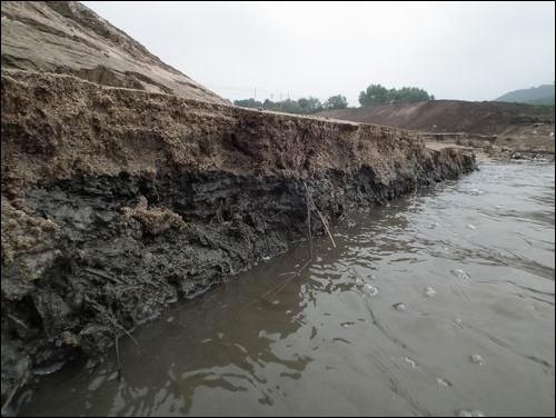 오래시간 퇴적되었던 점토층까지 유실되고 있는 모습 모래층만이 아니라 점토층까지 낙동강으로 유실되었습니다. 지천의 붕괴는 그것으로 끝이 아닙니다. 지천 오염원이 그대로 강으로 유입되어 강의 수질이 썩을 것 역시 자명합니다.