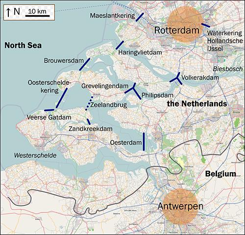 델타 플랜이 이루어진 지란드 주변 지도.