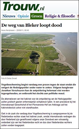 일간지 <트라우>6월 22일자에 게재된 자연 복원 예정 지역. 이 지역은 머지않아 바다로 환원된다.