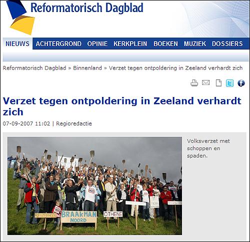 자연 복원 계획에 반대해 시위하는 제이란드 주민들.