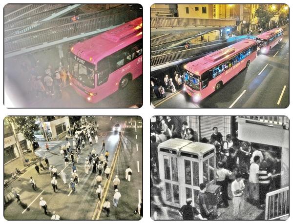 시계방향:어버이연합, 시위대와 시민들간의 시비 위 사진 2장과 왼쪽 아래 사진은 어버이 연합이 타고 온 차로 거의 노인이 많았고 시위 현장에서 욕하고 방해도 하다가 버스 안에서 잠시 휴식한 후 다시 시위대한테로 간다. 오른쪽 아래 사진은 시위대와 시민들간의 시비가 벌어지고 있다.