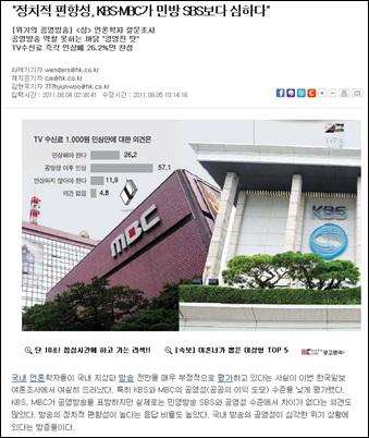<한국일보>가 국내 언론학자들을 대상으로 설문조사해 보도한 기사.