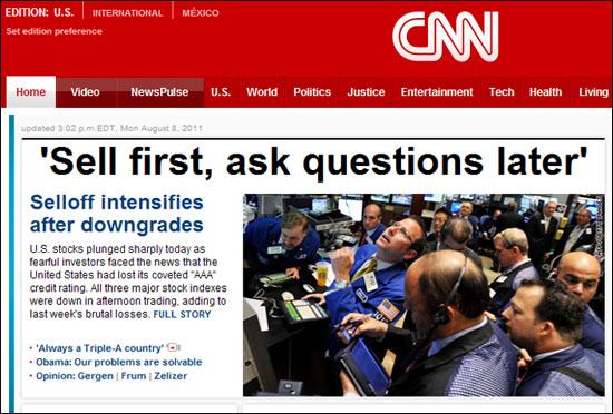 '일단 먼저 팔고보자'자는 심리가 미국 주식시장을 지배했다는 8일자 CNN 인터넷판 기사.