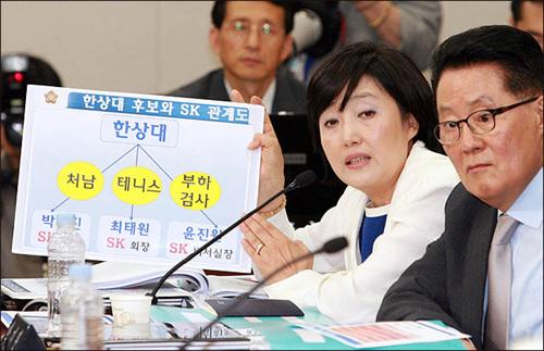 박영선 민주당 의원이 4일 한상대 검찰총장 후보자에 대한 국회 인사청문회에서 후보자와 SK 관계에 대해 의혹을 제기하고 있다.