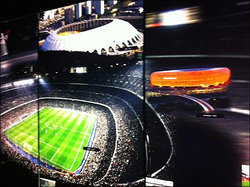 FC바르셀로나 박물관에 세계의 유명 축구 경기장 중 하나로 소개되어 있는 부산 아시아드 주경기장.