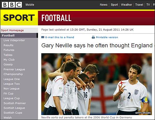 게리 네빌은 대표팀에서 보낸 기간에 대해 '개인적으로 볼 때는 시간 낭비였다'고 말했다.