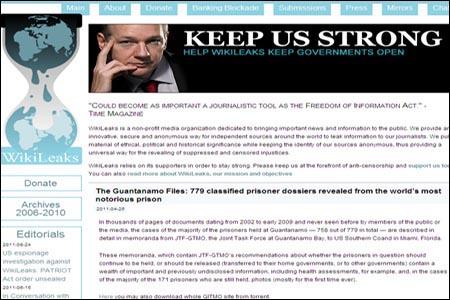 폭로 전문 사이트인 <위키리크스> 홈페이지.