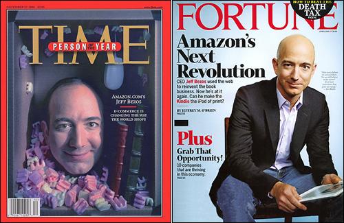 미국의 인터넷 산업은 '느린 수익모델'로 유명하다. 제프 베조스는 1995년에 아마존을 창립하면서 투자자들에게 향후 4~5년간 수익을 낼 의사가 없다고 밝힌 바 있다. 왼쪽은 <타임>지에서 '올해의 인물'로 꼽힌 창립자 베조스. 아마존이 첫 흑자를 기록하기도 전이다. 오른쪽은 2009년 <포춘>지 표지.