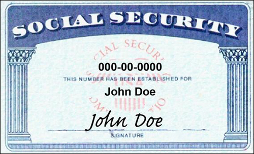 미국의 사회등록번호 카드. 9자리 번호에는 개인의 어떤 정보도 기록되지 않으며, 이 카드를 본인확인용도로 제시하지도 않는다.