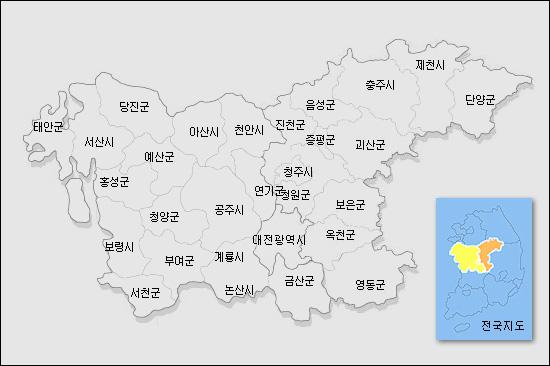 대전광역시, 충청남도, 충청북도 지도