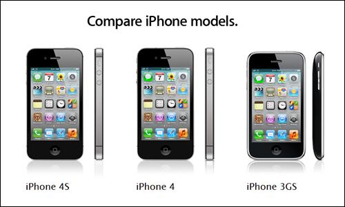 현재 판매 중인 아이폰의 세 가지 모델. 사진에서 보듯, 새로 나온 아이폰4S(첫 번째)와 기존의 아이폰4(두 번째)는 겉모양으로는 잘 구분되지 않는다. 하지만 이번 신제품의 핵심은 칩, 카메라, 소프트웨어 등 '내면'에 압축되어 있다. 특히 음성명령체계인 '시리'는 모바일 기기의 인터페이스에 새로운 혁명을 몰고 올 것이다.