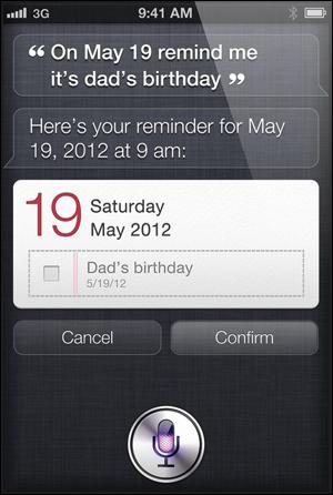 애플의 음성명령 시스템 '시리(Siri)'. 모바일 산업에 핵폭풍을 몰고 올 신개념의 인터페이스다. 사용자가 '내년 5월 19일이 아버지 생신이니, 잊지 않도록 해 달라'고 부탁하자 '당일 아침 9시에 쪽지로 알려주겠다'며 말과 글로 답한다.
