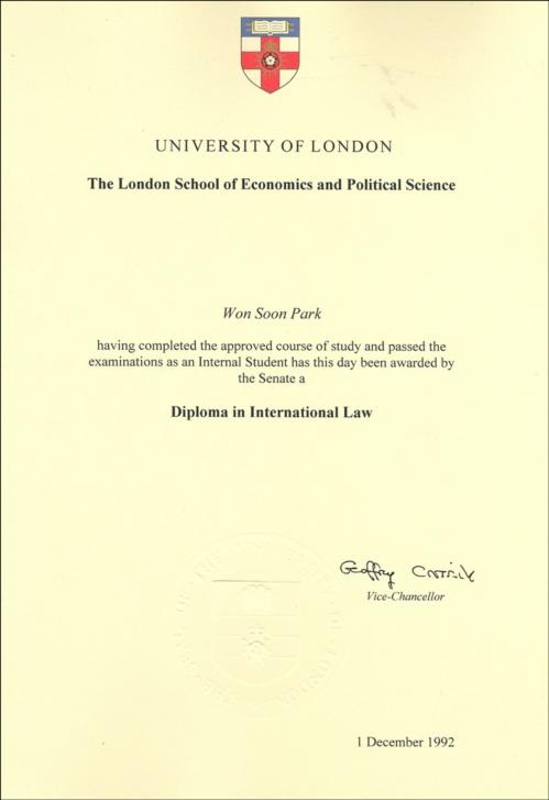 박원순 후보가 공개한 런던정경대 디플로마 증명서