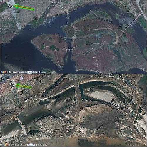 항공사진으로 본 동섬 파괴 현장. 좌측 화살표의 콘크리트 배수로가 위아래 사진이 같은 곳임을 보여줍니다. 그러나 아름답던 동섬이 갈기갈기 찢겨나가고 있습니다. 이게 강 살리기일까요?