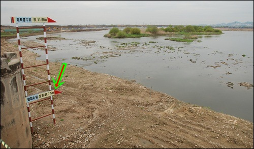 화살표의 수위만큼 물을 채우게됩니다. 그러면 홍수 위험은 더 커지고, 주변 농경지의 침수 또한 불가피해집니다.