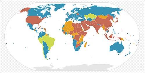 사형제도 유무에 따른 세계 지도. 호주와 같은 색깔이 사형제 완전 폐지 국가, 브라질과 같은 색깔이 사형제 대부분 폐지(전시 등은 제외) 국가, 한국과 같은 색깔이 지난 10년간 사형 비집행 국가, 중국과 같은 색깔이 사형제 시행 국가다.