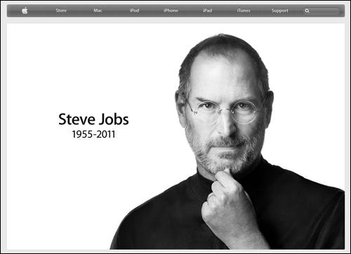 애플 웹사이트 첫 화면에 올라와 있던 창립자 잡스의 추도사진.