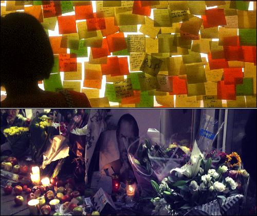잡스가 죽은 후 전 세계 사람들이 그의 죽음을 애도하는 동시에 그의 업적에 감사했다. 사진은 홍콩과 영국의 애플 매장 풍경으로 쪽지, 꽃, 초, 사과가 쌓여 있는 것을 볼 수 있다.