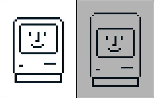 잡스는 사람들이 컴퓨터에 친밀감을 느낄 수 있도록 사람 얼굴 모양으로 설계했다. 특히 '인상 좋은' 얼굴을 만들기 위해 화면 위의 플라스틱 틀을 얇게 만들었다. 실제로 '이마' 부분을 넓히면 더 무뚝뚝한 모습이 되는 것을 볼 수 있다(오른쪽). 컴퓨터 스위치를 켜면 매킨토시 아이콘(왼쪽)이 미소 지으며 사용자를 반기곤 했다.