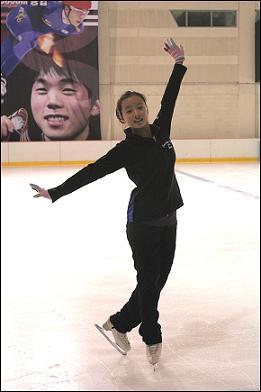 민유라 선수, 훈련에 임하고 있다