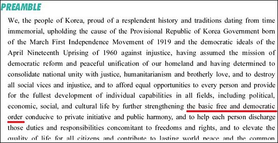 법제처 홈페이지 '영문법령정보' 편에 실린 영문 헌법 가운데 '자유민주적 기본질서' 관련 부분
