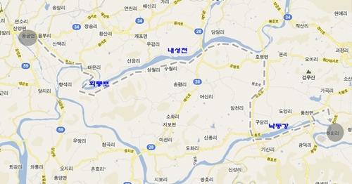 용궁버스터미널 (용궁역)에서 출발하여 회룡포 마을 - 내성천 농로길 - 구담리 구담교 - 낙동강 자전거도로 - 광덕교를 건너 하회마을에 도착
