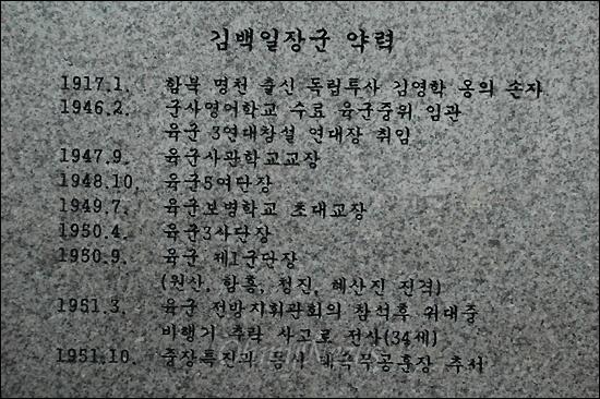 거제 포로수용소 유적공원 안에 있는 김백일장군 동상에 새겨진 약력.