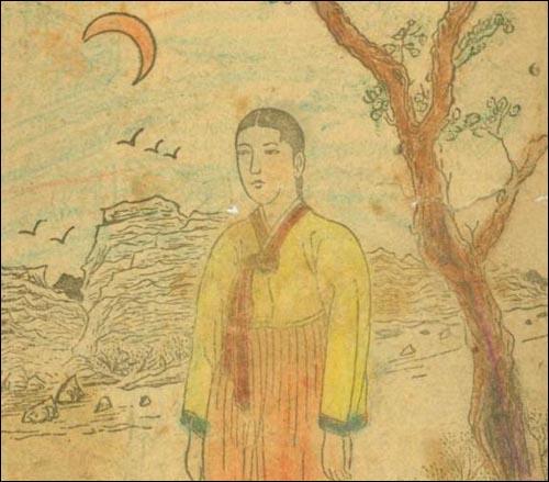 심청이. 1945년 태화서관에서 발행한 <심청전> 속의 그림.