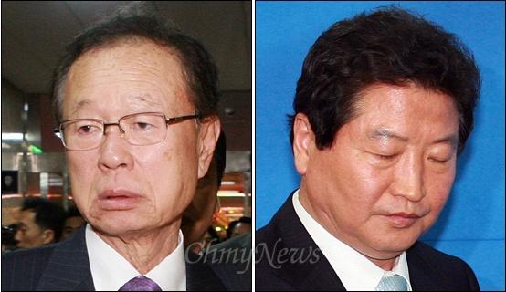 한나라당 전당대회 돈봉투 사건에 휘말린 박희태 국회의장(왼쪽)과 안상수 전 대표