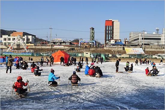 황금송어축제장, 빙판 위에서 썰매를 지치는 아이들.