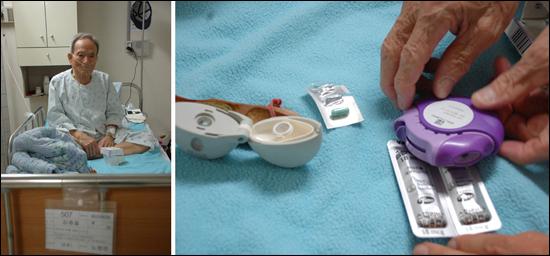 만성폐쇄성폐질환을 앓고 있는 김종을씨. 호흡이 불편하거나 숨이 찰  때마다 기관지질환 치료에 쓰이는 작은 기구에 약을 넣고 공기를 몇 번 들이마셔 진정시킨다.