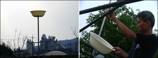 주민들은 마을에 날리는 분진의 양을 파악하기 위해 집집마다 대야를 높이 설치했다. 오른쪽은 쌓여있는 내용물을 확인하고 있는 박광호씨.