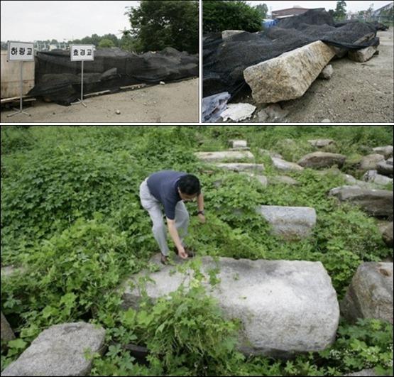 하랑교, 효경교도 잘 보관되어 있군요.  녹색을 좋아하는 가카 덕에 조선의 역사 유물들이 잡초 속에 어울려 있습니다. 가카의 '바른자리' '바른 모습'으로 복원한 청계천의 진실이 여기 다 있습니다.