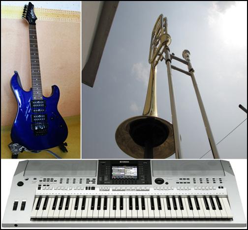 여러 가지 악기들 우리 부부가 다루는 악기들 가운데 몇 가지에요. 그동안 악기 장만하는데 들어간 돈이 만만치않지만, 부부가 함께 하는 취미이기 때문에 돈때문에 다툴 일은 없지요.
